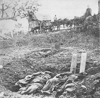 After the battle, the Gettysburg area was a tragic place. Dead horses, the bodies of soldiers, and the debris of battle littered its trampled fields. Many of its buildings were damaged, its fences gone, and its air polluted with the odor of rotting flesh. Nearly 20,000 wounded and dying soldiers occupied its public buildings and many of its houses; Union and Confederate hospitals clustered at many of its farms