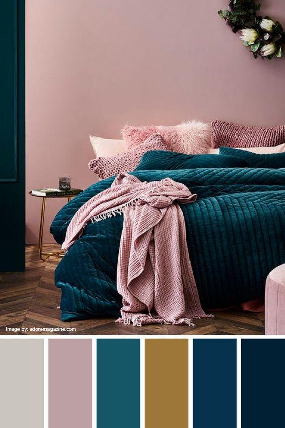 cat dinding kamar 2 warna pink dan biru 2