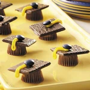 Ingredients   24 miniature peanut butter cups   1 tube (6 ounces) decorating frosting in color of your choice   24 After Eight thin mints   24 milk chocolate M's in color of your choice or 24 semisweet chocolate chips   Directions   Remove paper liners from peanut butter cups; place upside down on waxed paper. Place a small amount of frosting on each peanut butter cup; center a mint on each. Using frosting, make a loop for each cap's tassel. Place an M on top of each loop. Yield: 2 dozen.