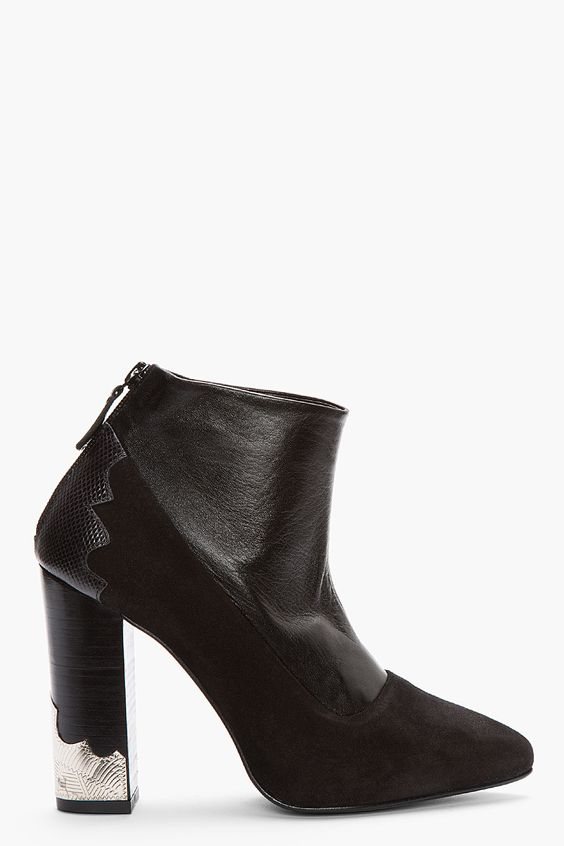 TOGA PULLA Black Suede & Leather Ankle boots