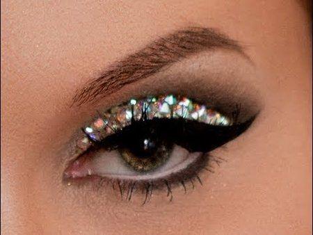 How To Apply Glitter Rhinestones Eye Makeup - Vegas_Nay! #howto #stepbystep #rhinestoneeyes