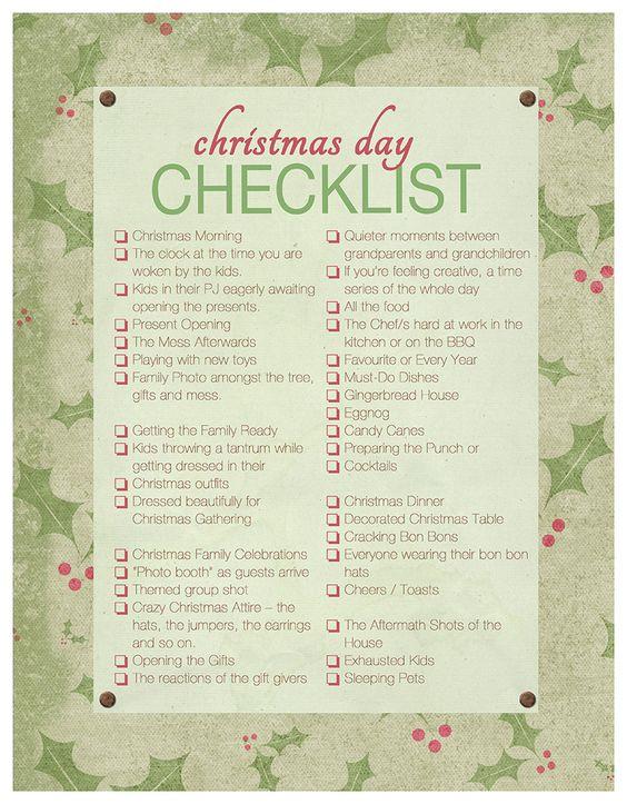 Christmas Day Checklist For the Familiographer – Christmas Preparation Checklist