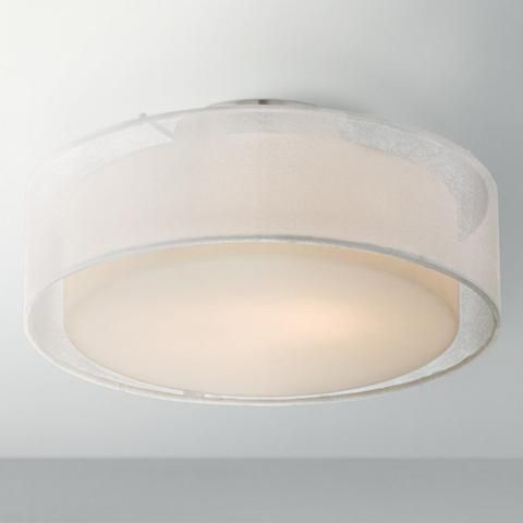 Opal White Dual Shade 12 1 2 Wide Drum Ceiling Light W4588 Lamps Plus Drum Ceiling Lights Ceiling Lights Light