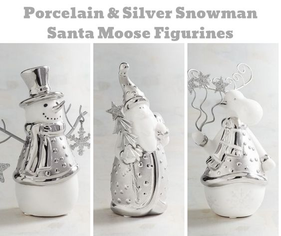 Silver and Porcelain Snowman Santa Moose Figurines