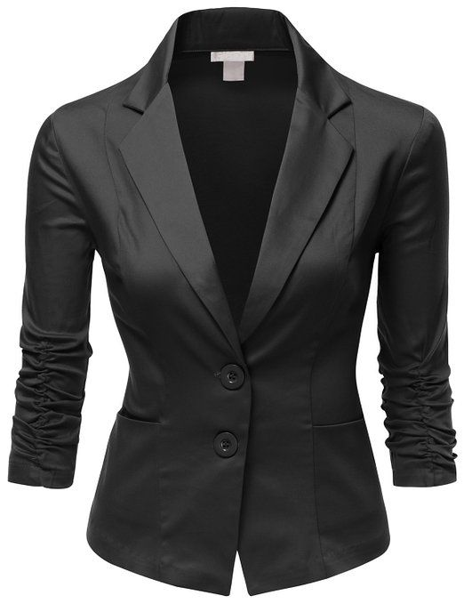 Doublju Women Simple Tailored Boyfriend Blazer Suit Jacket at