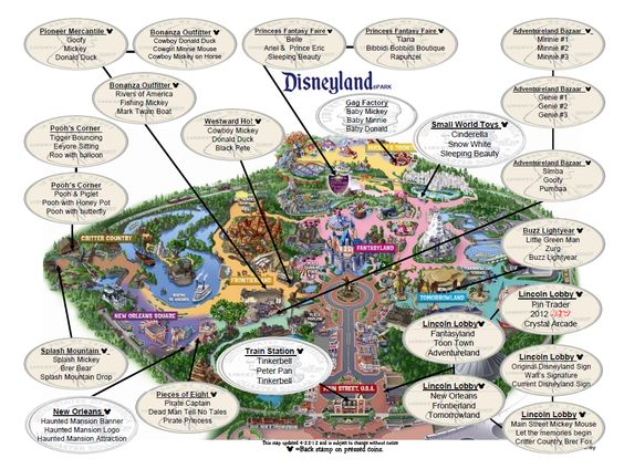 Official check off list of Penny Press locations in Disneyland with map