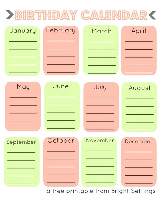 Free Printable Birthday Calendar -- a perpetual calendar to help you - perpetual calendar template