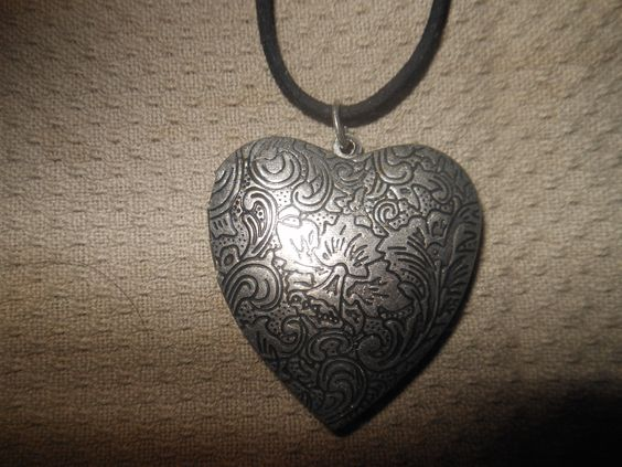 "Pewter Heart Pendant-Opens for pictures-hangs on a black suede rope. By ""iKI"" on Etsy"