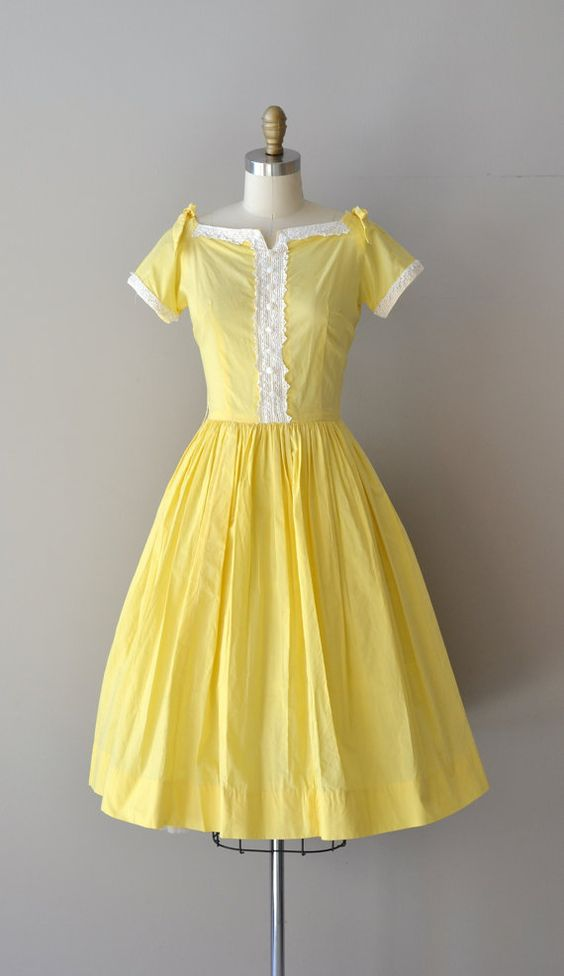Sunnyside dress / vintage 1950s dress / cotton 50s dress: