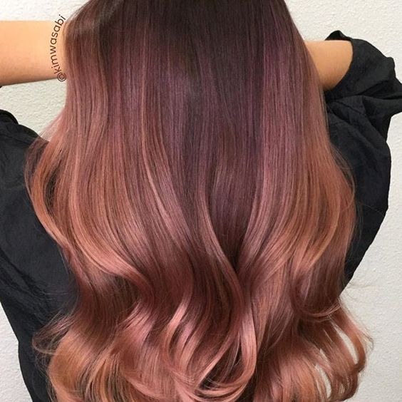 Rose Gold created using @guytang_mydentity on pre lightened hair to a level 8 with @olaplex. Base: 7RG + 5g of Pink Glow and Ultra Violet. Mids and ends: 9RG + 5g of Pink Glow. All Demi and 6vl 1:2 ratio. #kimwasabi #excellenthairsalon #excellenthairsalonteam #guytangmydentity #guytang_mydentity #mydentity #mydentitycolor #guytangcolor #rosegoldhair #behindthechair #modernsalon #olaplex #balayageombre