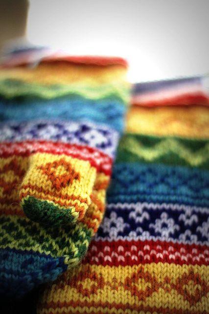rainbow stranded mittens