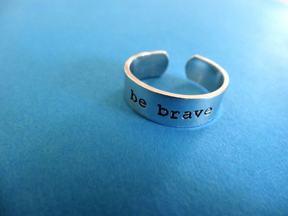 This listing is for 1 Skinny band hand stamped aluminum ring as shown    be brave    - Pure 1100 Aluminum band: Lightweight, extremely low skin