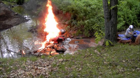 Atv catches on fire and burns to the ground