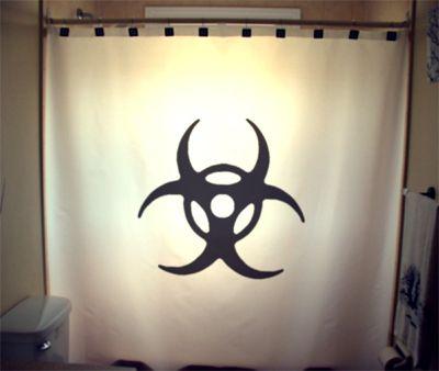NICE!!!! SHOWER CURTAIN sign Biohazard Warning trefoil Chemical ...