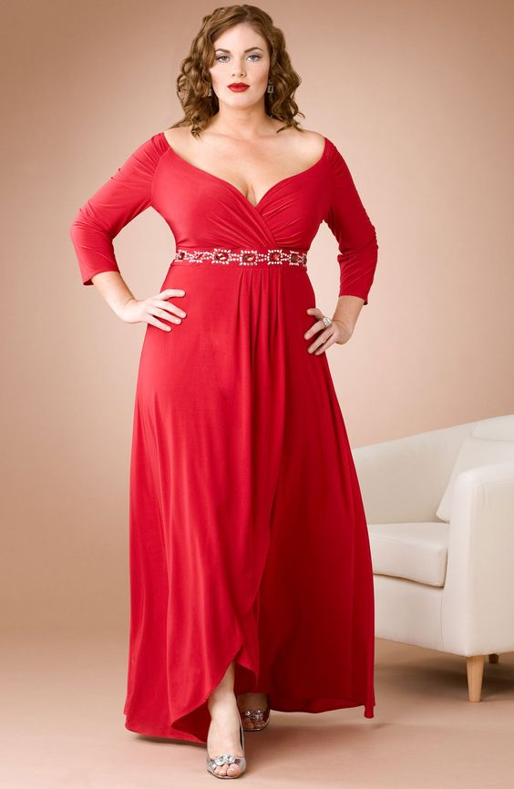 Red color party wear western gown for plus size women- made of ...