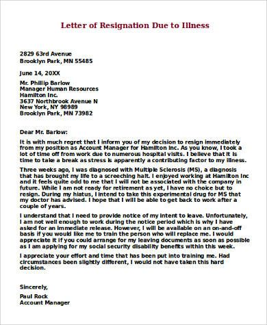 example letter resignation samples word pdf leave application due - retirement resignation letters