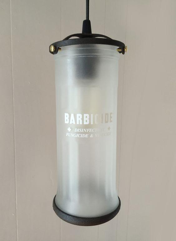 Vintage Barber Jar Pendant Lamp | October Design Co. #barbicide #barbershop #beard #hair