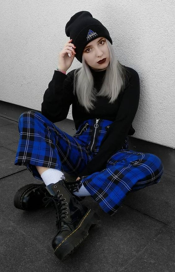 Adidas beanie with black top, blue tartan plaid pants with zipper & Dr Martens platform boots by highinhighschool