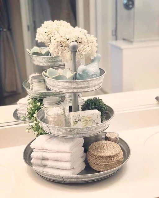 Rivet Galvanized Metal 3 Tier Stand At Pottery Barn Tabletop Trays Stands Moroccan Ba Bathroom Decor Tiered Tray Decor Tiered Stand