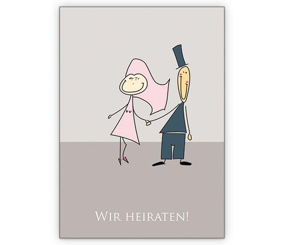 Modernes Brautpaar auf Hochzeitsanzeige: Wir heiraten! - http://www.1agrusskarten.de/shop/modernes-brautpaar-auf-hochzeitsanzeige-wir-heiraten/    00012_0_2804, Anzeige, Brautpaar, Ehe, Grusskarte, Helga Bühler, Hochzeit, Klappkarte, Liebe, Romantik, Verlobung00012_0_2804, Anzeige, Brautpaar, Ehe, Grusskarte, Helga Bühler, Hochzeit, Klappkarte, Liebe, Romantik, Verlobung