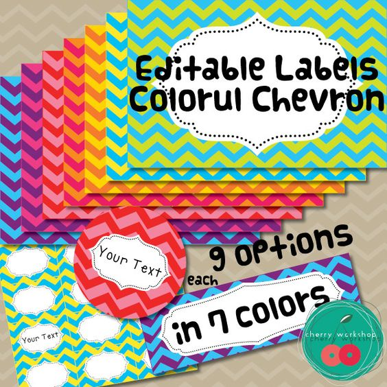 Editable Labels Editable Chevron Labels for your classroom. Bright classroom decor.  Back to school in colorful chevron.