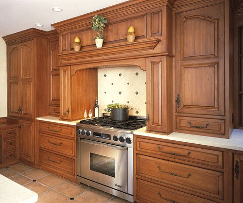 Modern stove with wood cabinets