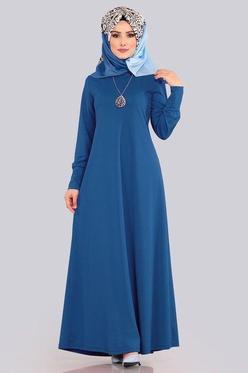 Modaselvim Elbise Kolyeli Boydan Tesettur Elbise Edf4107 Indigo Kiyafet Elbise Musluman Modasi