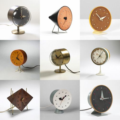 Nelson-table-clocks-2. Howard Miller Clock Company, Zeeland, Michigan. Designed by George Nelson.