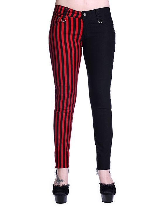 Details about Banned Black Red Stripe Split Leg Stretch Skinny