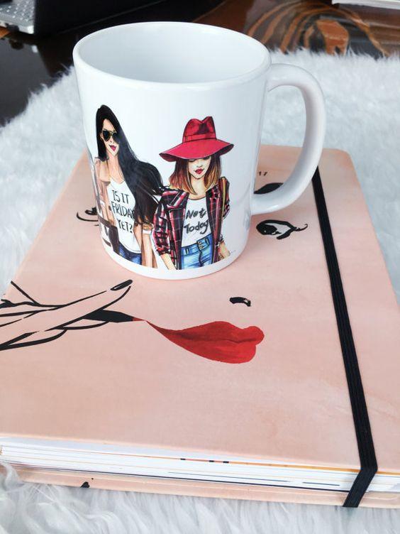 Taza de café de moda Linda taza taza de por RongrongIllustration