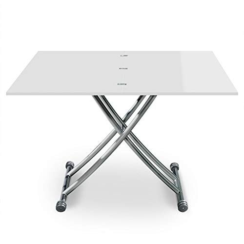 Menzzo Table Basse Relevable Bois Inox Laque Blanc Table A Manger Rehaussable Et Extensible Table Tra En 2020 Table Basse Relevable Table Basse Table Transformable
