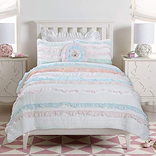 Cozy Line Home Fashions Emma Light Pink Blue 3d Lace Stripe Ruffle