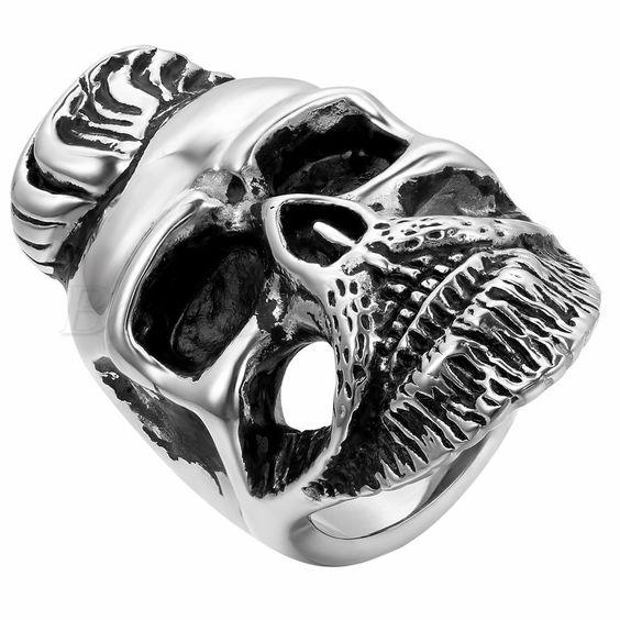 Punk Rock Elvis Men Biker Retro Stainless Steel Skull Ring #7-#12 Halloween Gift #Unbranded #Band