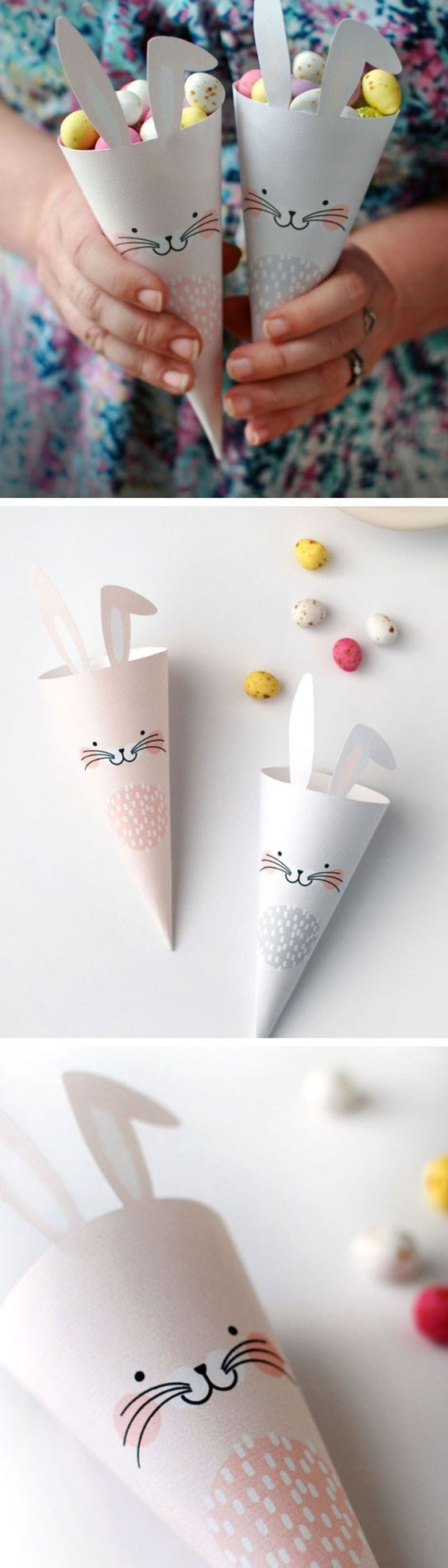 Easter Bunny Treat Cones   Click Pic for 20 DIY Easter Basket Ideas for Kids to Make   Easy Easter Crafts for Kids to Make: