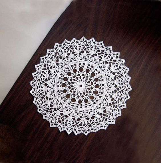 Winter White Lace Crochet Doily Home Decor Modern by NutmegCottage