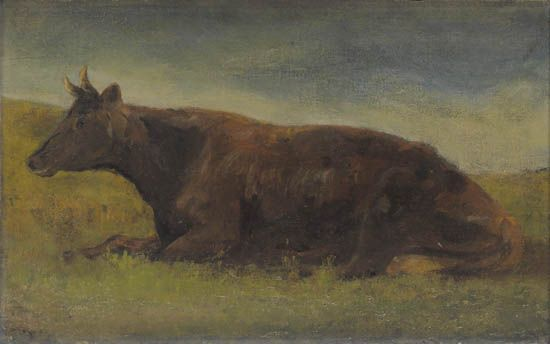 """""""Reclining Cow,"""" Edward Mitchell Bannister, ca. 1890-95, oil on canvas mounted on wood panel, 9 7/8 x 16"""", private collection."""