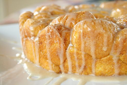 Pumpkin pull apart bread with maple glaze!