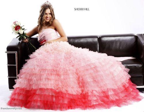 Ruffle Ball Gown Wedding Dress: Sherri Hill Pink Ombre Tiered Ruffle Ball Gown Dress--Okay