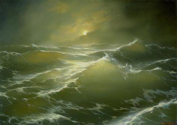 "Moon and sea - ""Live in the sunshine, swim the sea, drink the wild air…"" ~ Ralph Waldo Emerson"