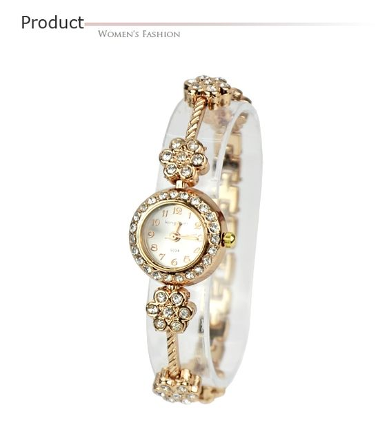 De aleación de cristal de cuarzo Plum Blossom pulsera brazalete de las mujeres reloj de pulsera