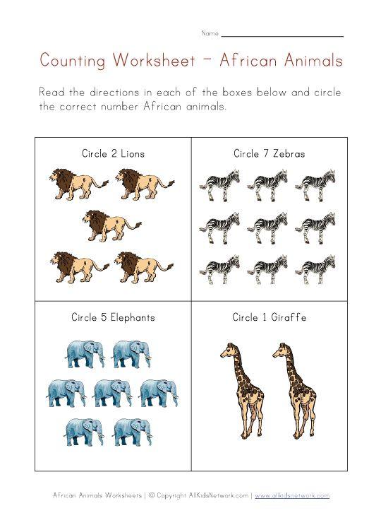 African Animals Counting Printable Preschool Zoo – Animal Math Worksheets