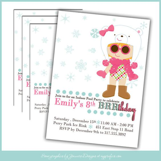 Winter Pool Party Birthday INVITATIONS Girl  Set of by LullabyLoo, $18.00