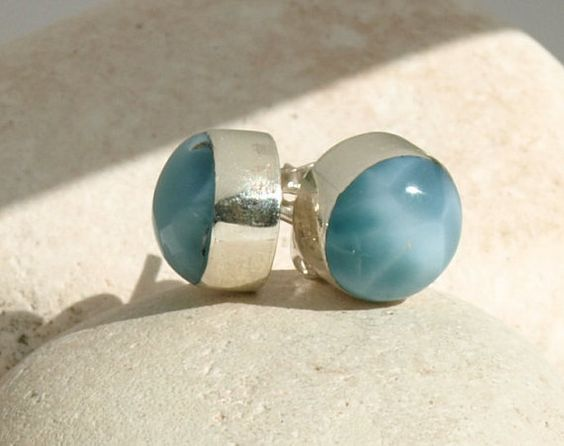 Dominican Larimar Round 10mm Studs Post Earrings by MyBeachStore
