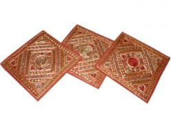 3pc Embroidered Cushion Covers Vintage Sari Pillows  $39.99