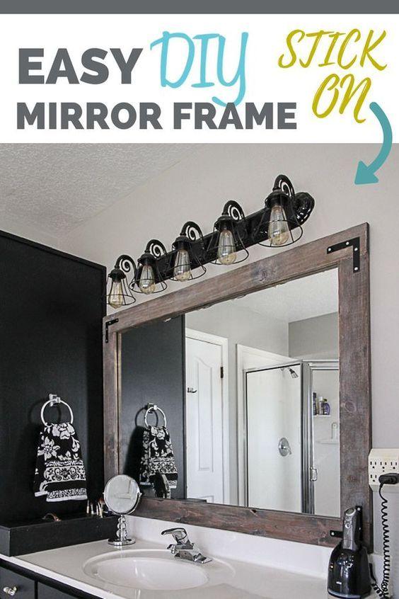 Diy Stick On Mirror Frame Bathroom Mirrors Diy Mirror Frame Diy Stick On Mirror How to hang a framed bathroom mirror