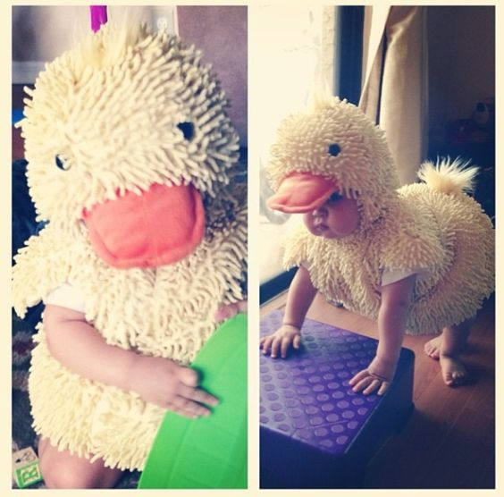 Duckling Halloween costume for baby.  Add yellow or orange leggings and matching long-sleeve top for colder weather.