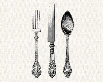 Antique Silverware Knife Fork Spoon Cutlery Printable