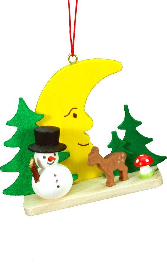 Christian Ulbricht Snowman on Moon Ornament