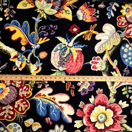 Wonderland-Jet-Heavy-Cotton-Floral-Kaufman-Fabric