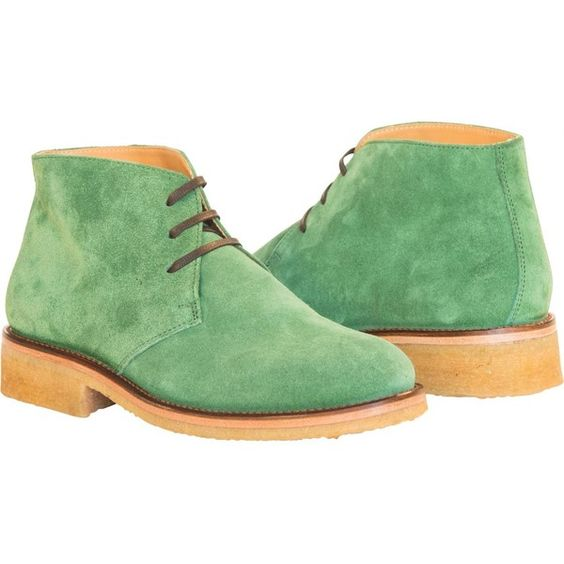 PAOLO IANTORNO Jamie Green Suede Chukka Desert Boot ($249) ❤ liked on Polyvore featuring shoes, boots, green, suede chukka shoes, crepe sole shoes, suede boots, green suede shoes e shock absorbing shoes